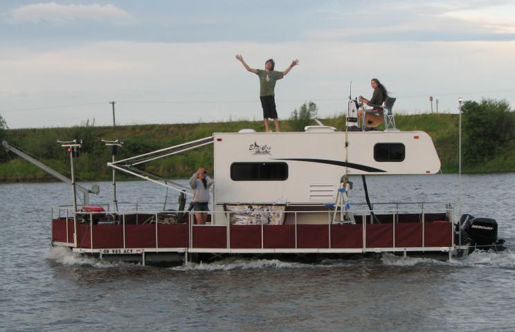 Floating Dock Converted Into A Camper Barge