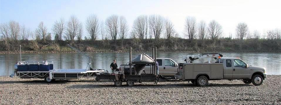 work barge on a trailer