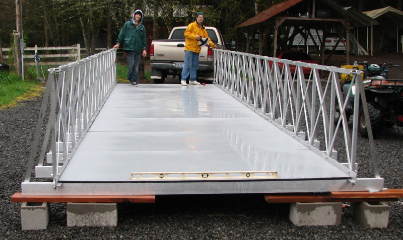 Small Portable Bridges : Aluminum gangway converted into a portable free span atv