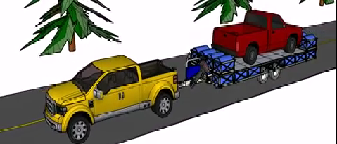 amphibious trailer to tow vehicles on the water