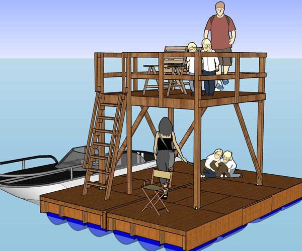 Two story dock design RollingBargecom