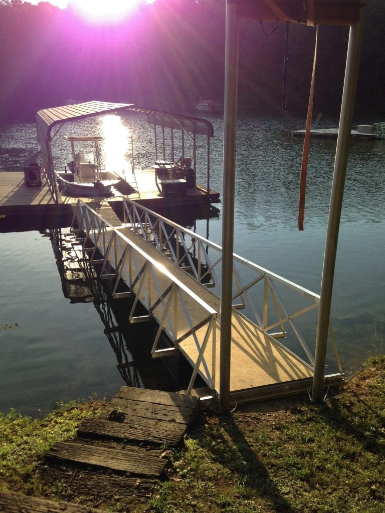 Gangway mounted with Poles on the Shore