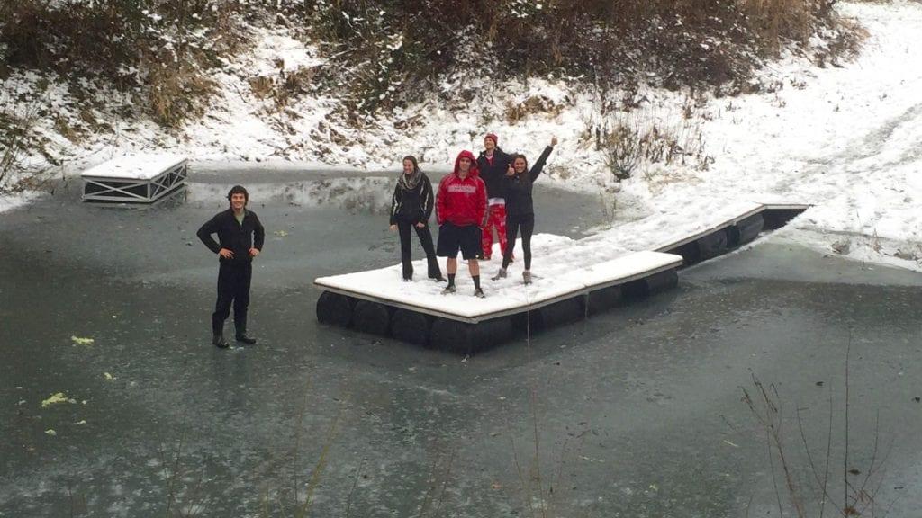 floating dock on freezing lake